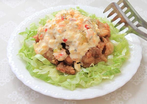 しゃきしゃきレタスの鶏南蛮風サラダ 画像