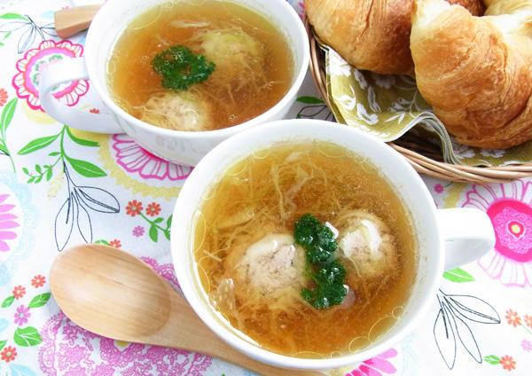 千切りキャベツの肉団子スープ